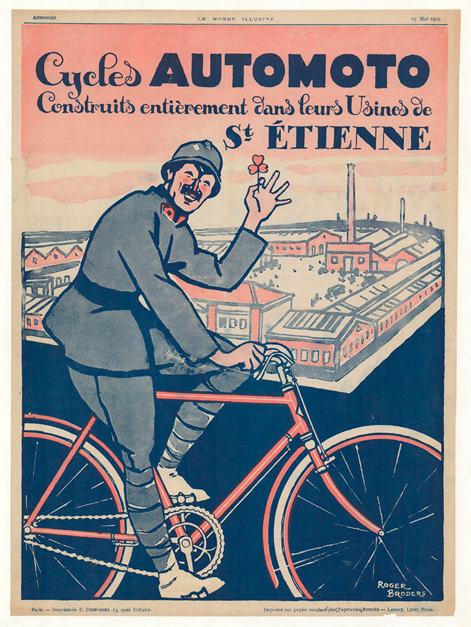 Cycles Automoto Original Vintage Bicycle Poster by Broders