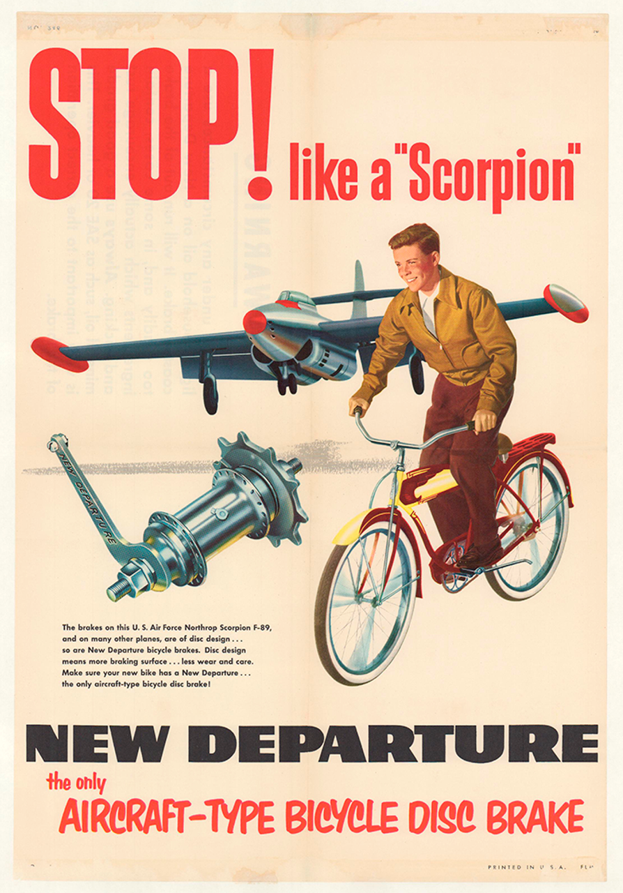 New Departure - Stop Like a Scorpion Original Vintage Bicycle Poster
