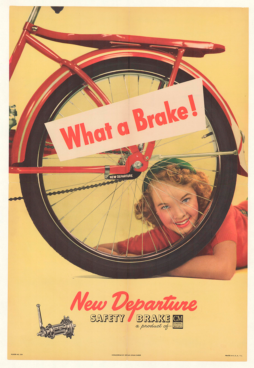 New Departure - What a Brake! Original Vintage Bicycle Poster