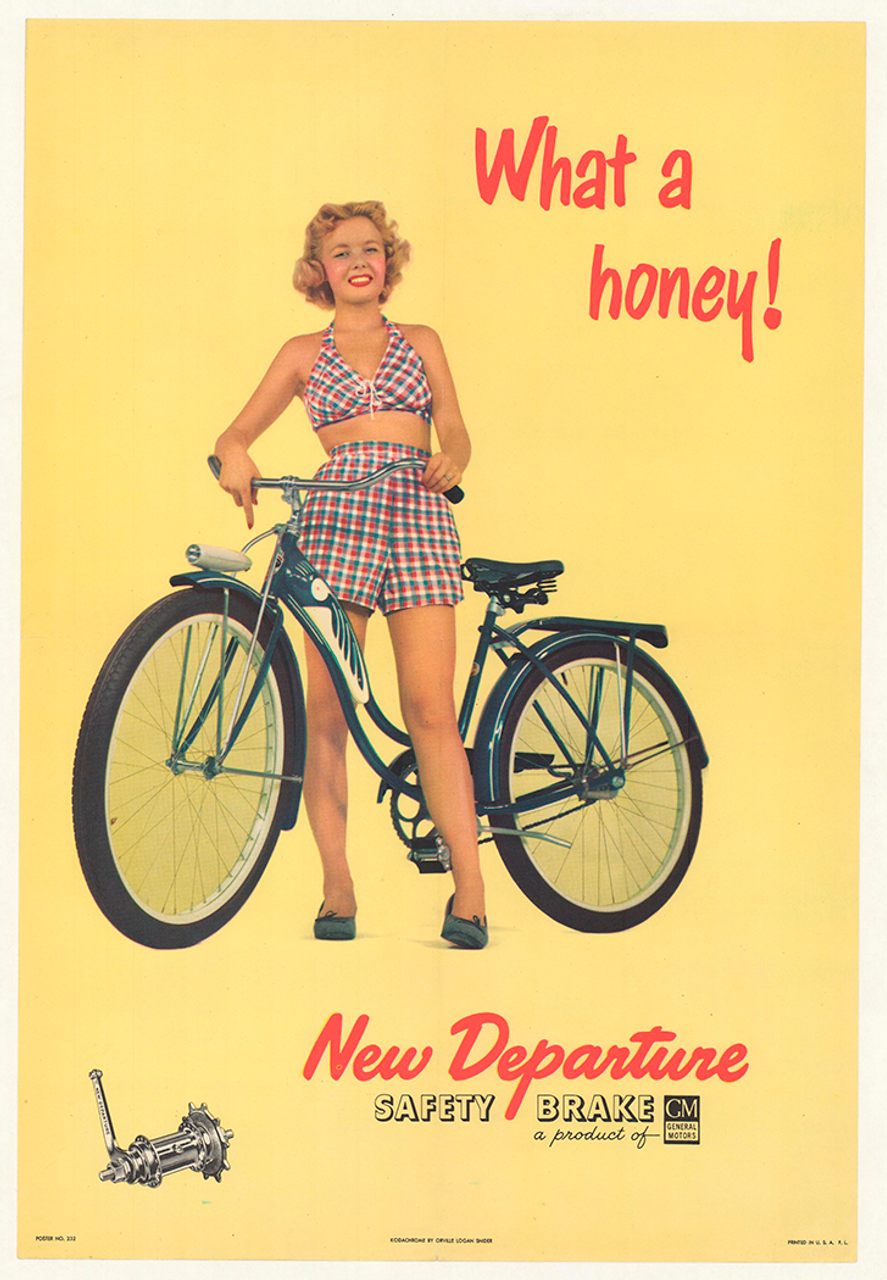 New Departure - What a Honey! Original Vintage Bicycle Poster