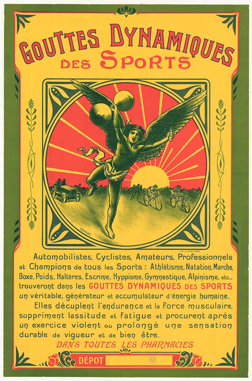 Gouttes Dynamiques Original Vintage Bicycle Poster