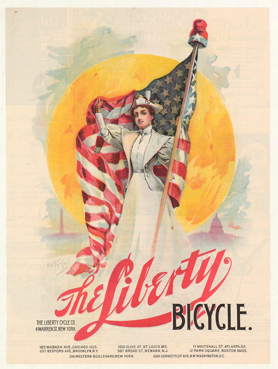 The Liberty Original Vintage Bicycle Poster by EH Kiefer