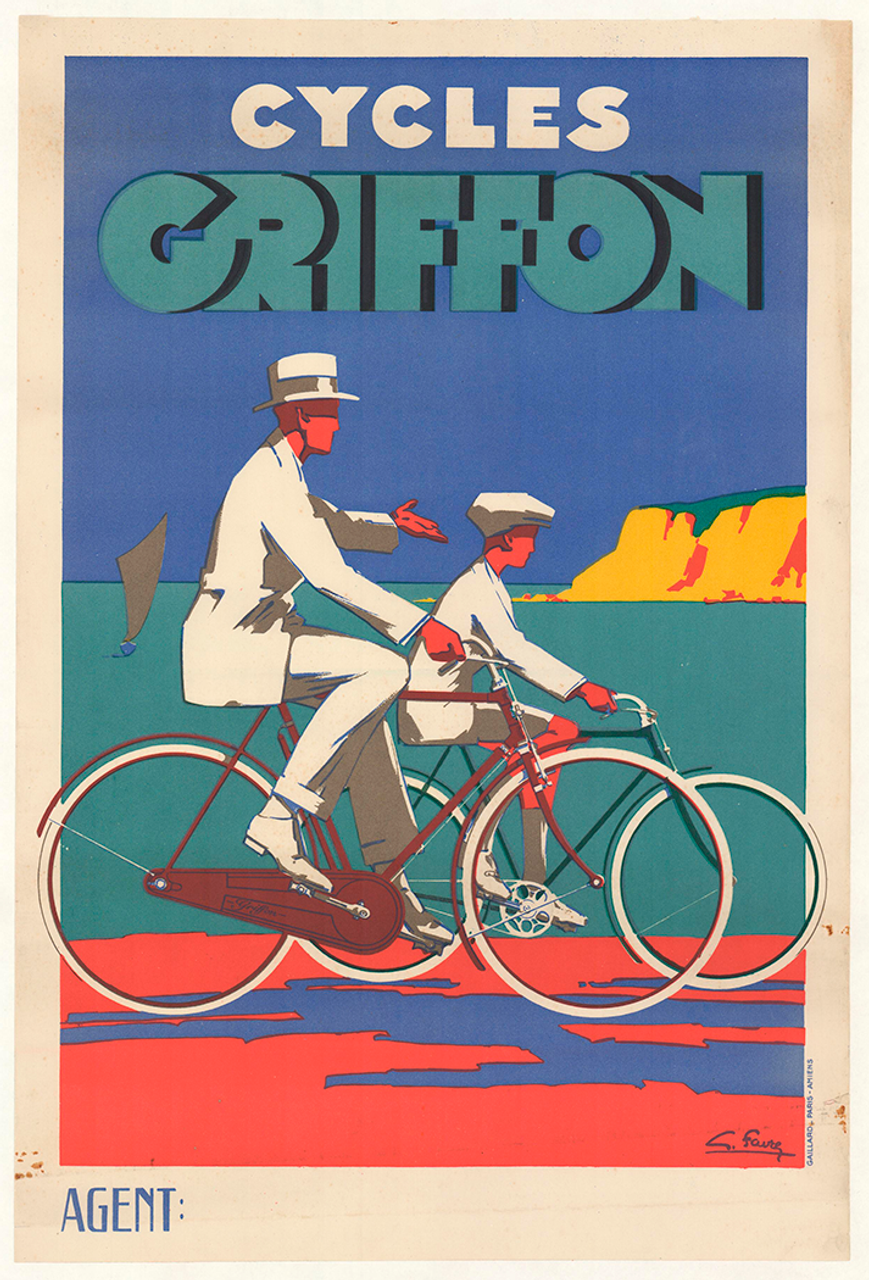 Cycles Griffon Original Vintage Art Deco Bicycle Poster by Georges Favre