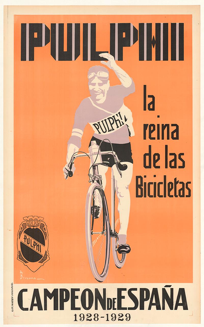 Pulphi Original Spanish Vintage Bicycle Poster by Brocona