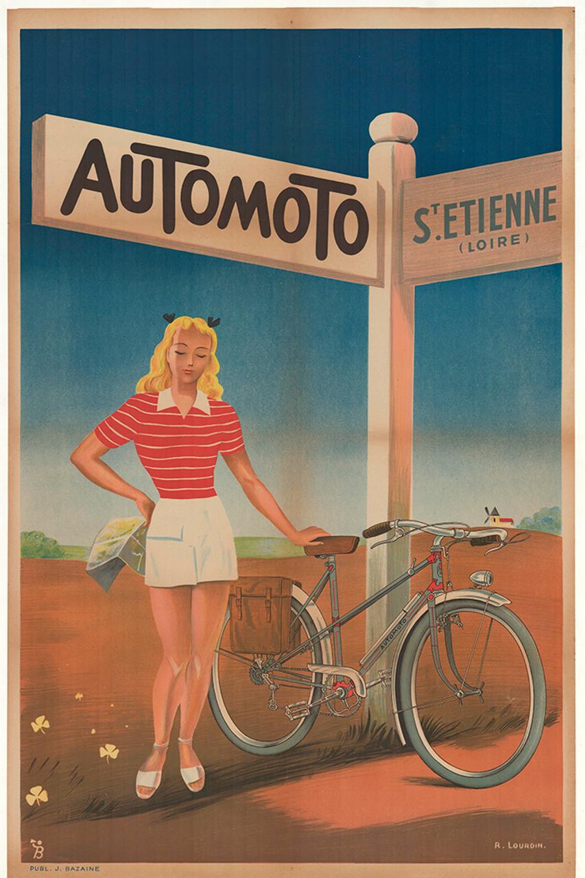 Automoto Original Vintage Art Deco Bicycle Poster by Lourdin