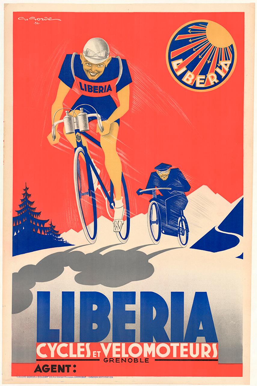 Liberia Original Vintage Bicycle Poster by Gorde