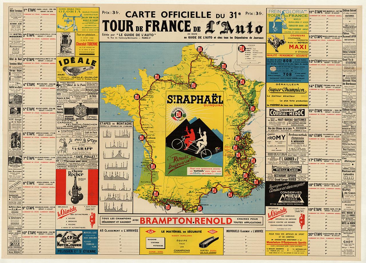 1937 Tour De France Original Vintage Bicycle Poster