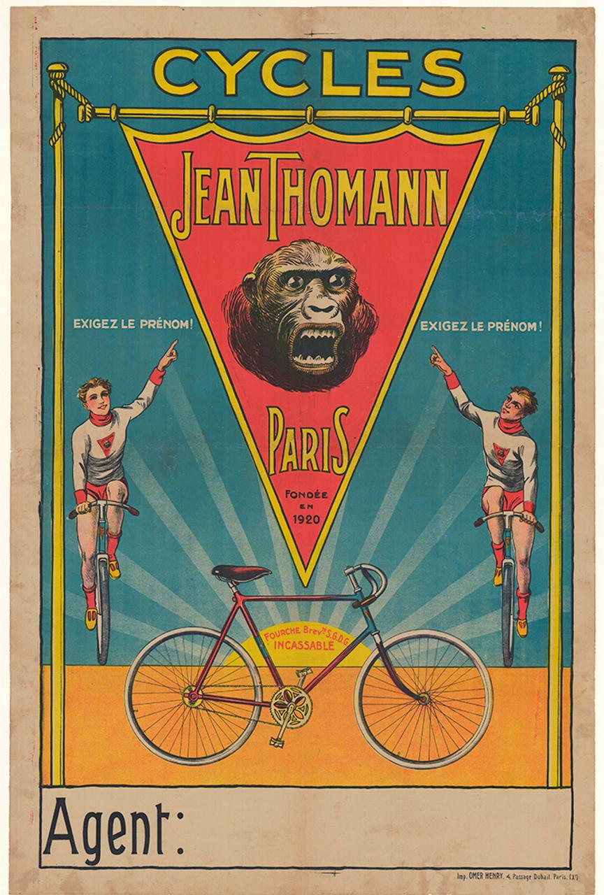 Cycles Jean Thomann Original Vintage Bicycle Poster
