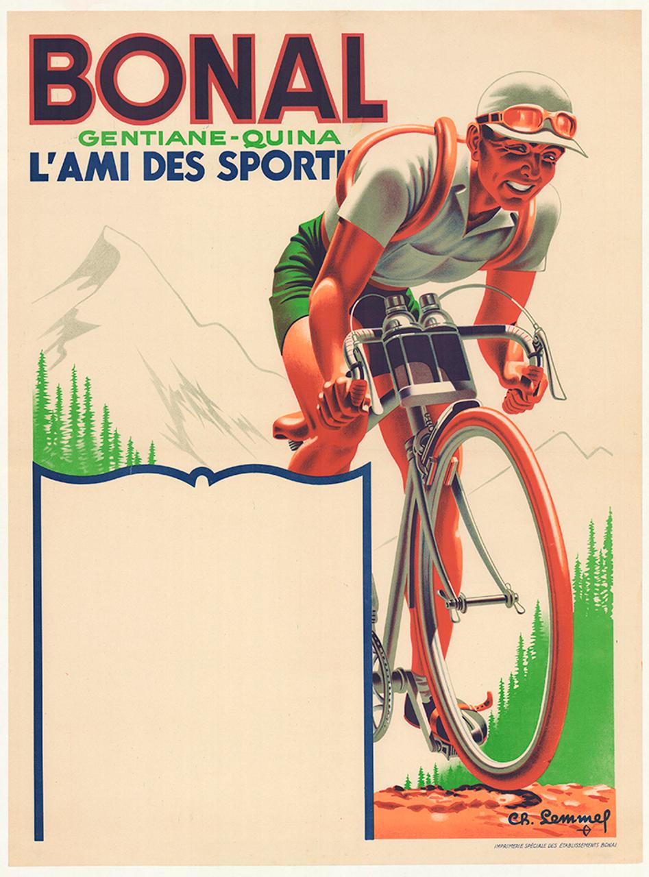 Bonal Original Vintage Art Deco Bicycle Poster by Lemmel