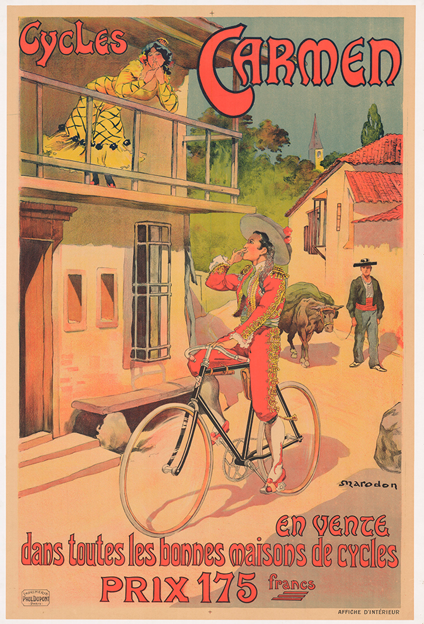 Cycles Carmen Original Vintage Bicycle Poster by Marodon