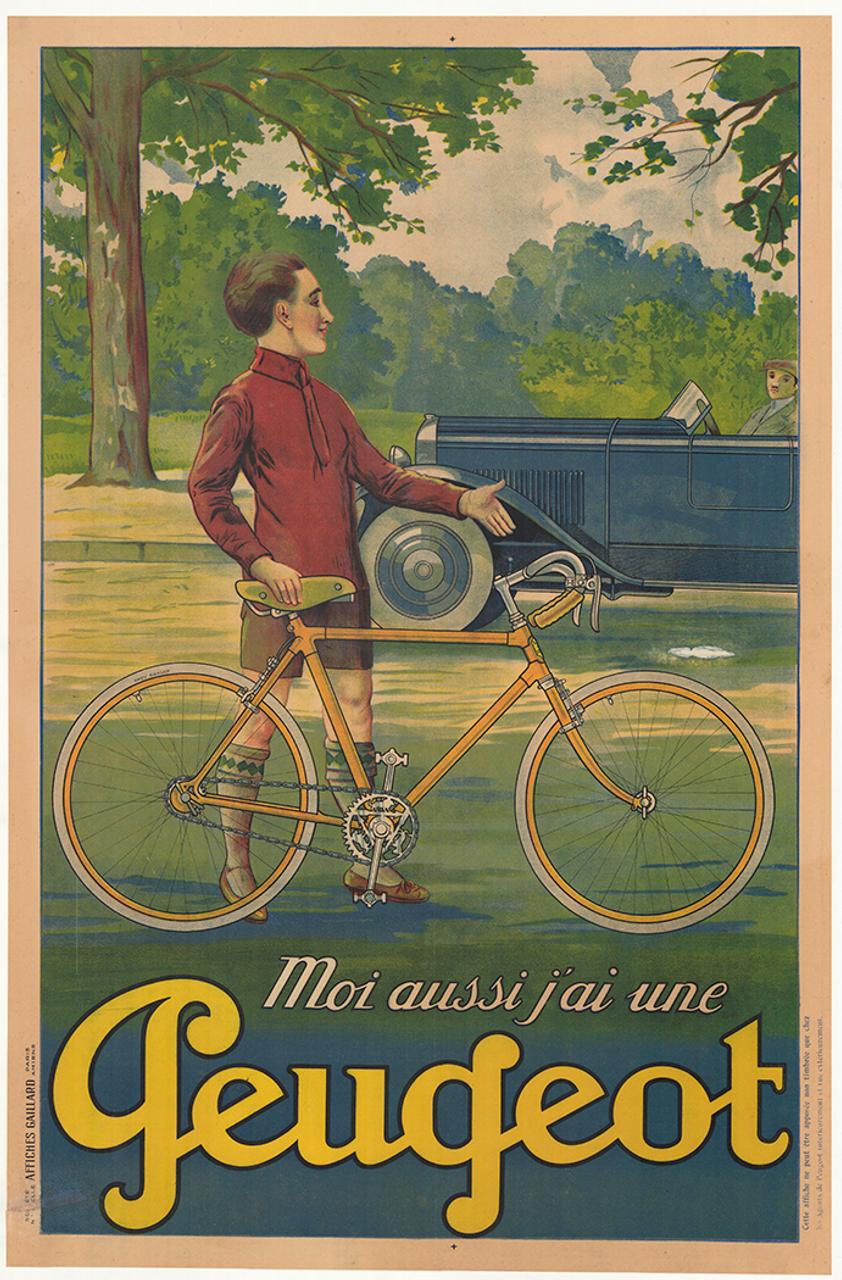 Peugeot Original Vintage Bicycle Poster with Peugeot Car