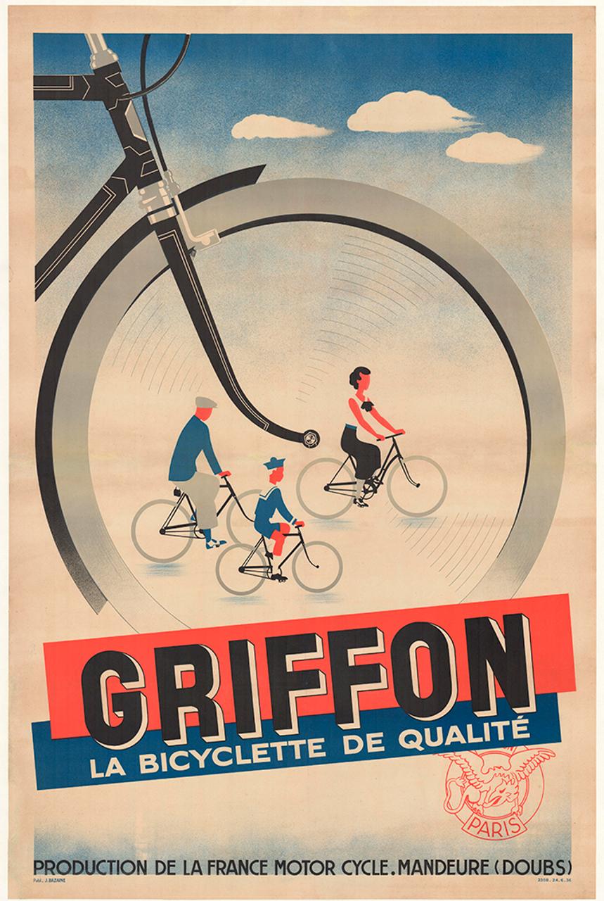 Griffon La Bicyclette Original Vintage Bicycle Poster