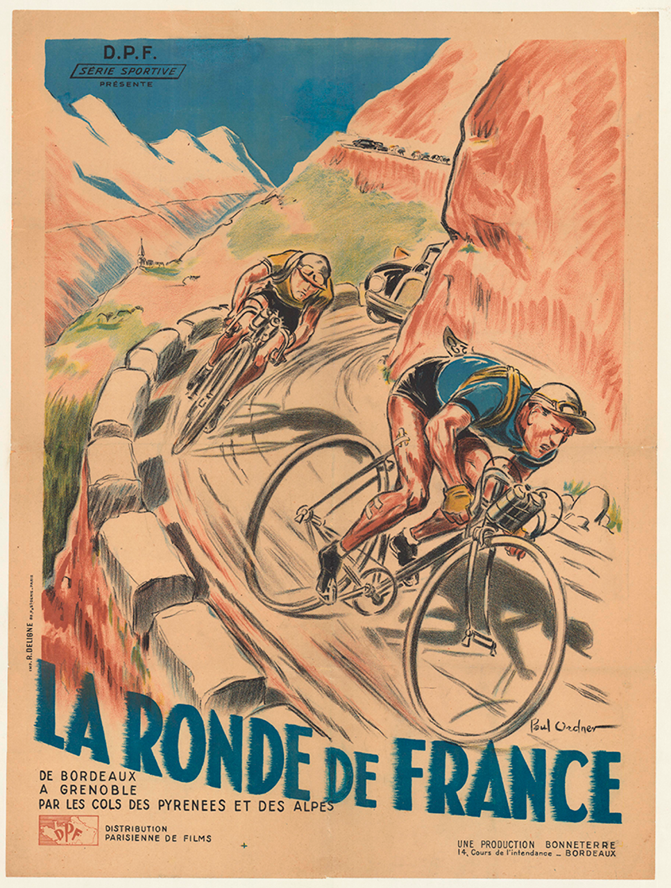 La Ronde de France Vintage Bicycle Poster by Paul Ordner