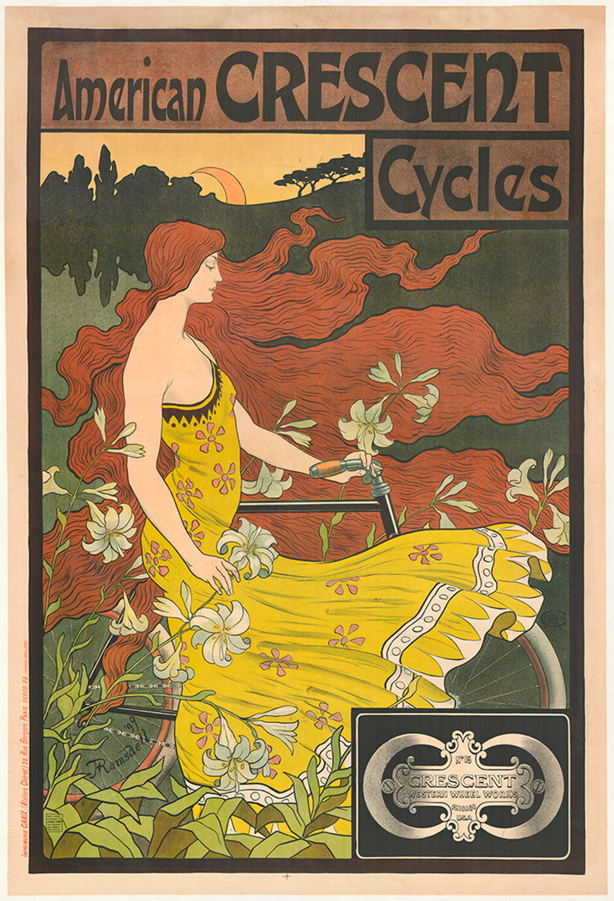 American Crescent Cycles Vintage Bicycle Poster by Ramsdell