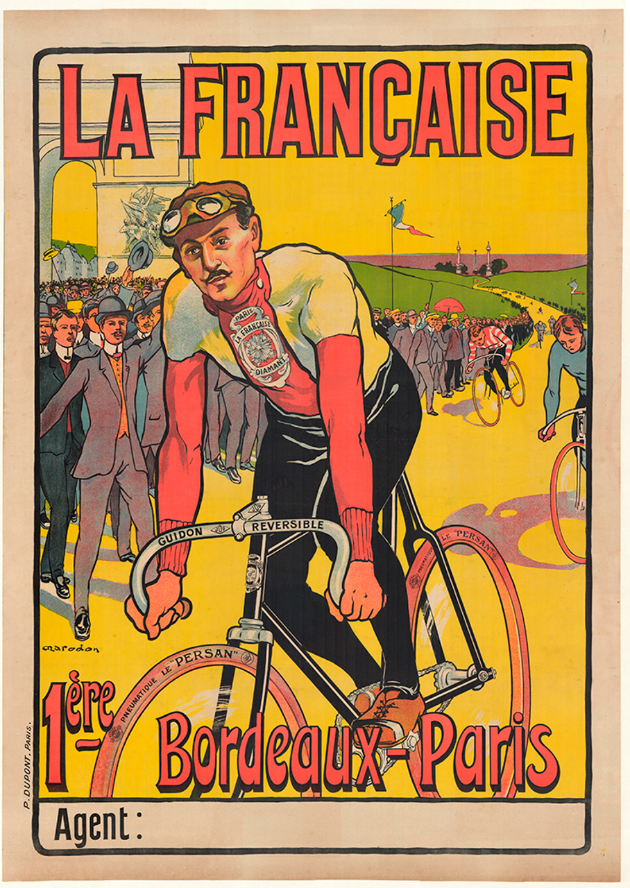 La Francaise Bordeaux-Paris Original Vintage Bicycle Poster by Marodon