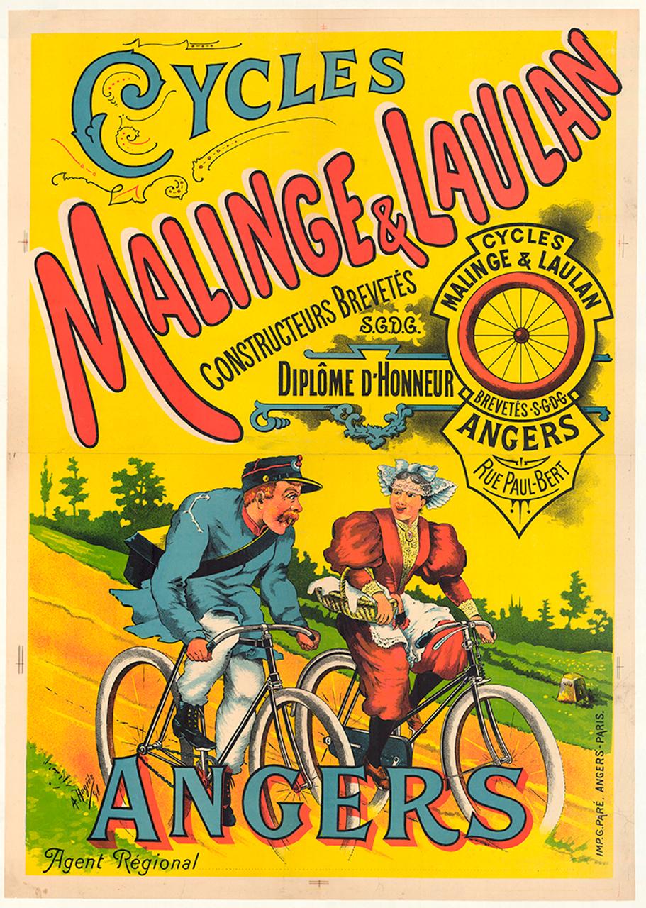 Cycles Malinge & Laulan Original Vintage Bicycle Poster