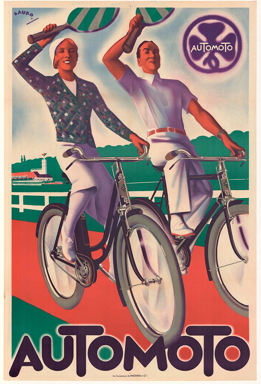 Automoto Original Art Deco Vintage Bicycle Poster by Lauro