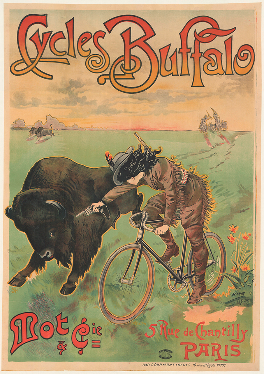 Cycles Buffalo Original Vintage  Bicycle Poster by Brun and Gray