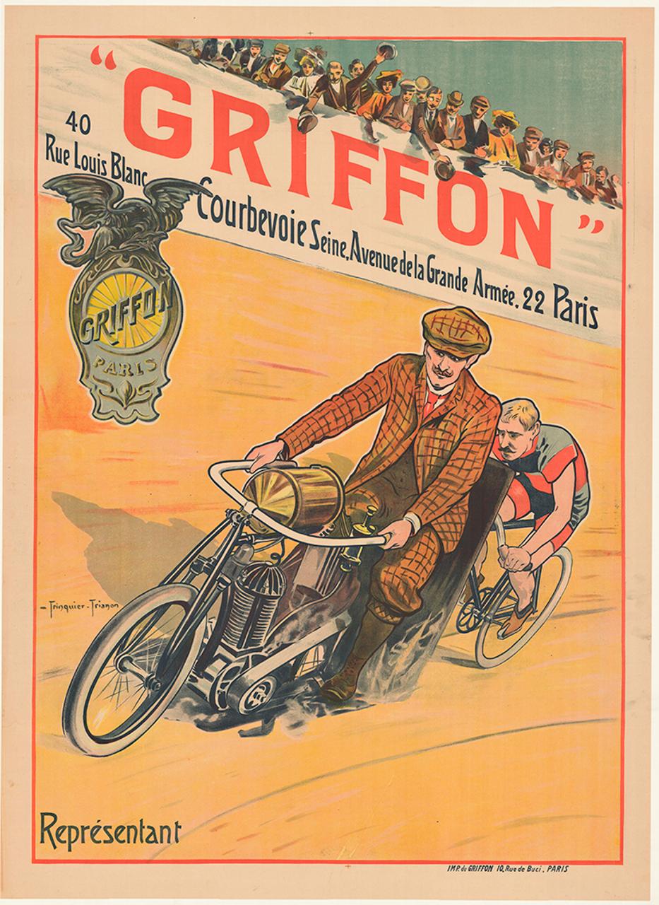 Griffon Motor Paced Racing Original Vintage  Bicycle Poster