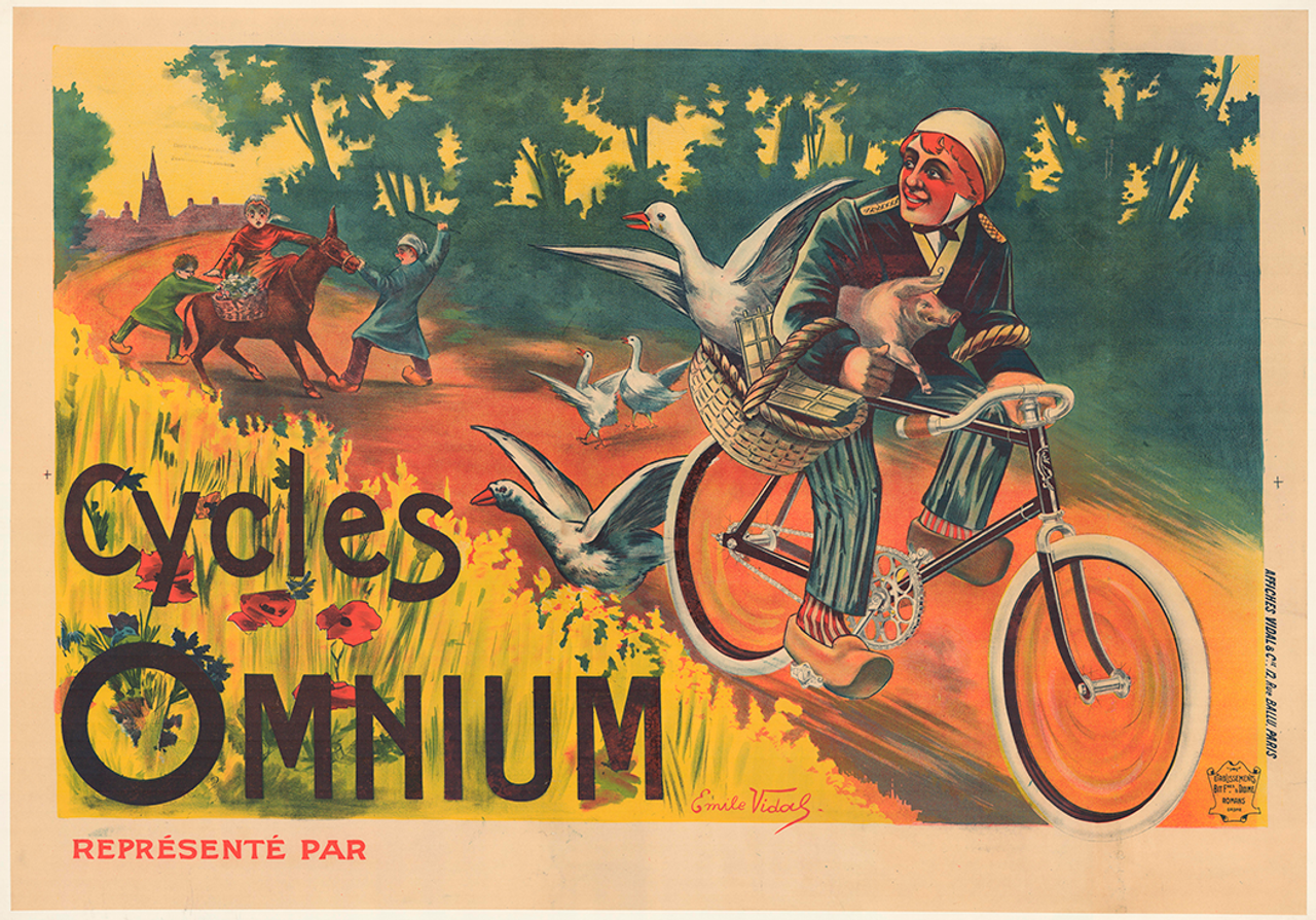 Cycles Omnium Original Vintage  Bicycle Poster by Vidal
