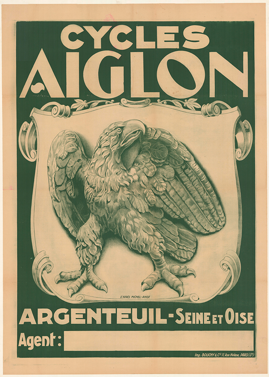 Cycles Aiglon Original Vintage  Bicycle Poster by Michel-Ange