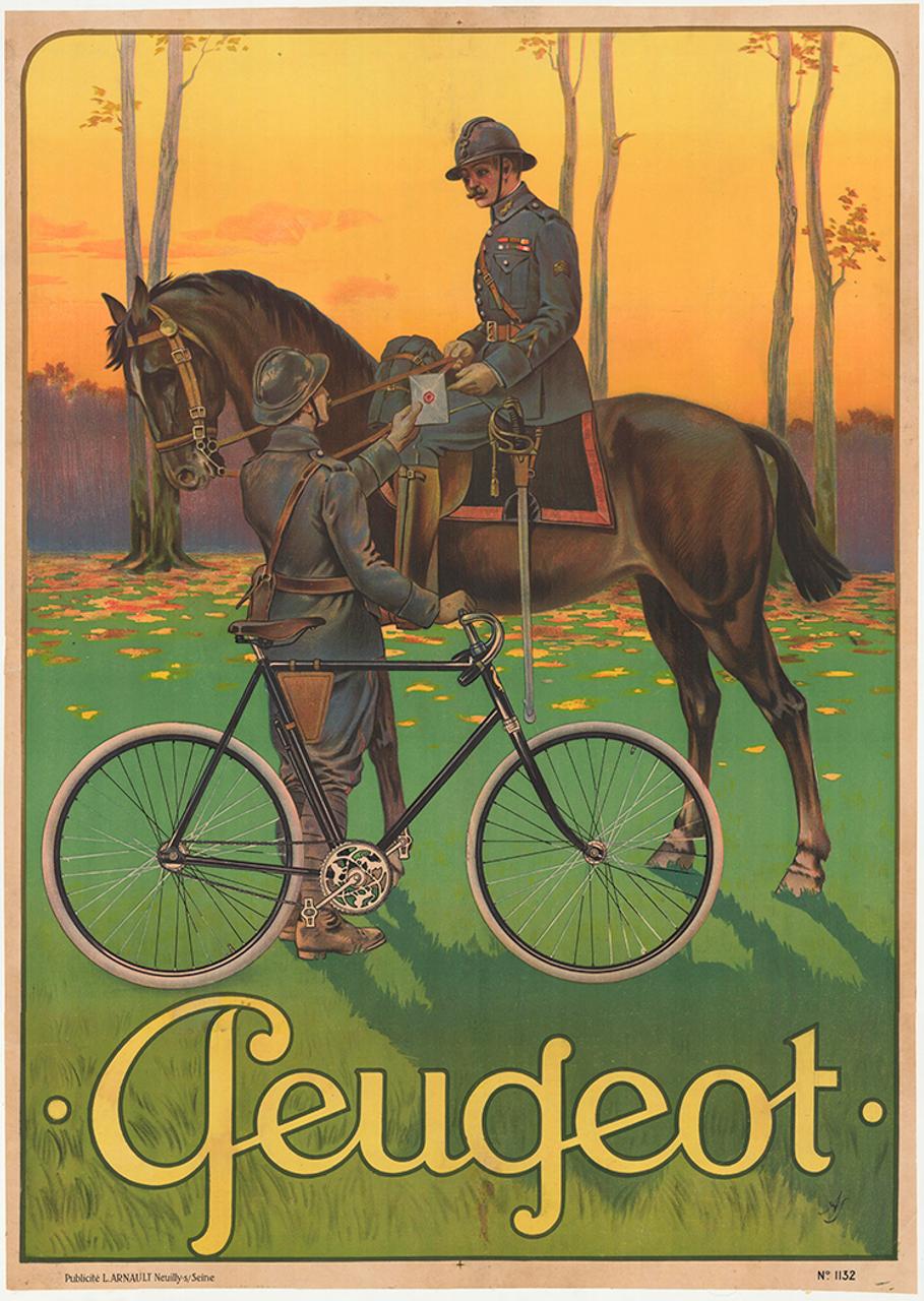 Cycles Peugeot Original Vintage  Bicycle Poster by Vuluemin