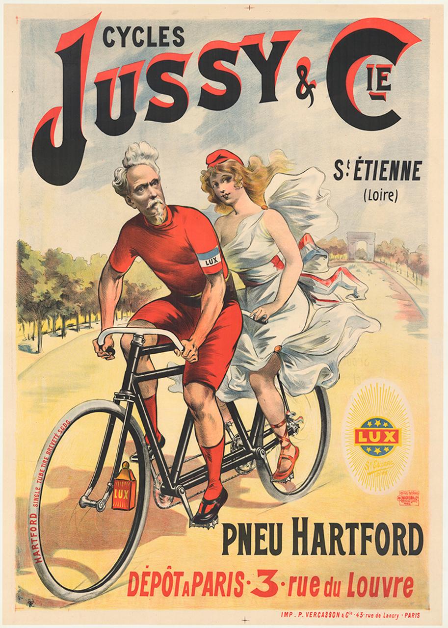 Cycles Jussy Original Vintage Tandem Bicycle Poster