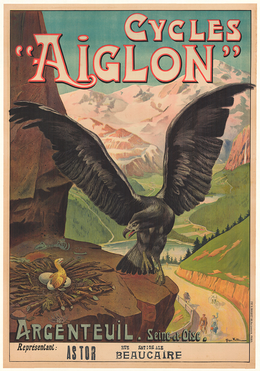 Cycles Aiglon Original Vintage  Bicycle Poster by Vallee