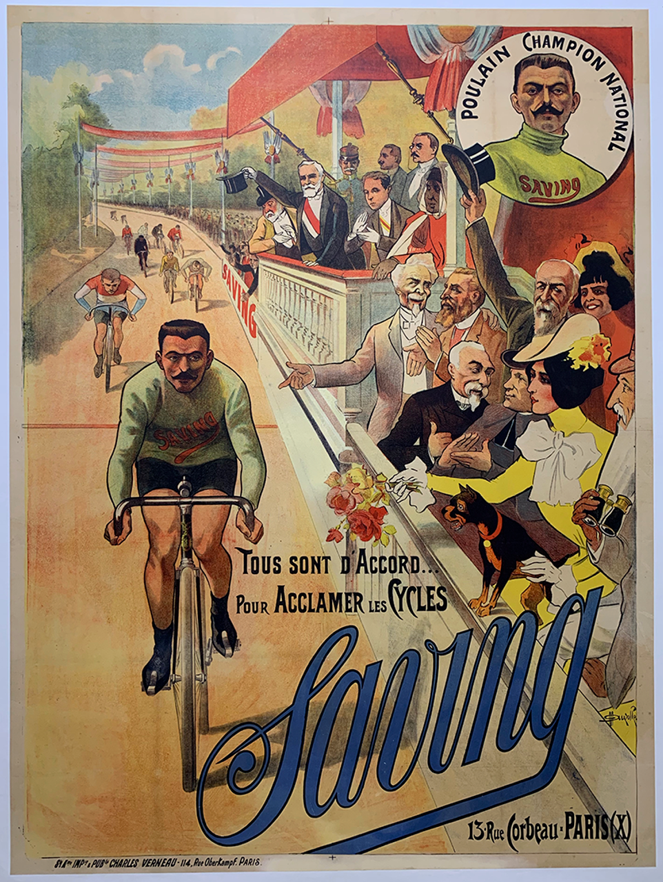 Saving Original Vintage  Bicycle Poster by Auzolle