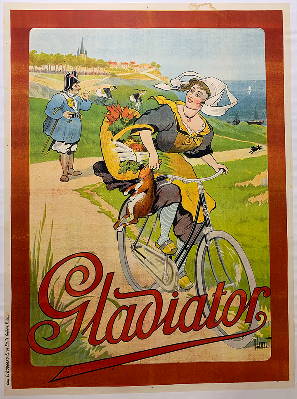 Gladiator Original Vintage  Bicycle Poster by Leverd