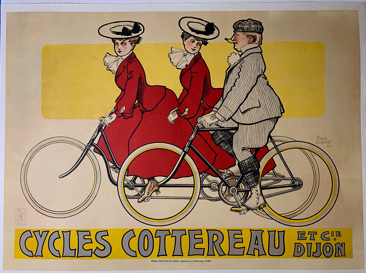 Cycles Cottereau Original Vintage  Bicycle Poster by Vincent