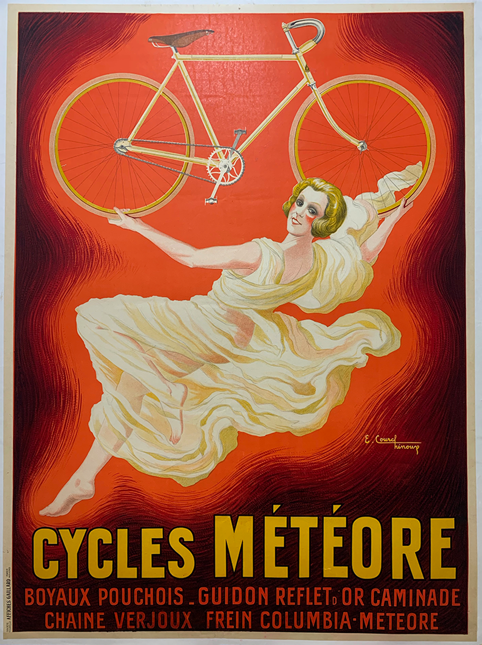 Cycles Meteore Original Vintage  Bicycle Poster by Courchinoux