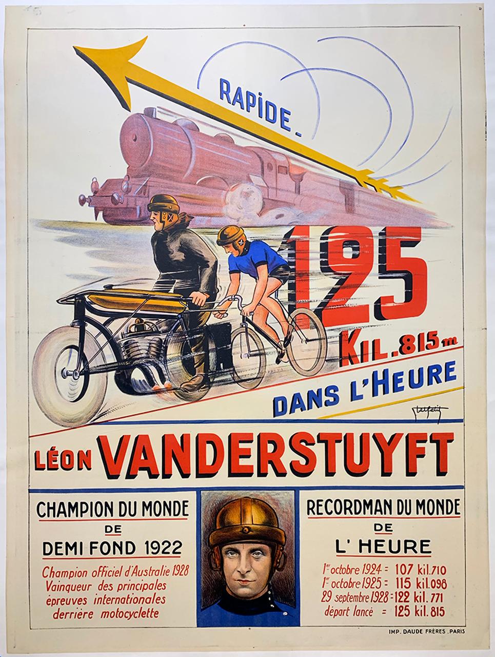 Leon Vanderstuyft Motor Paced Racing Original Vintage Bicycle Poster