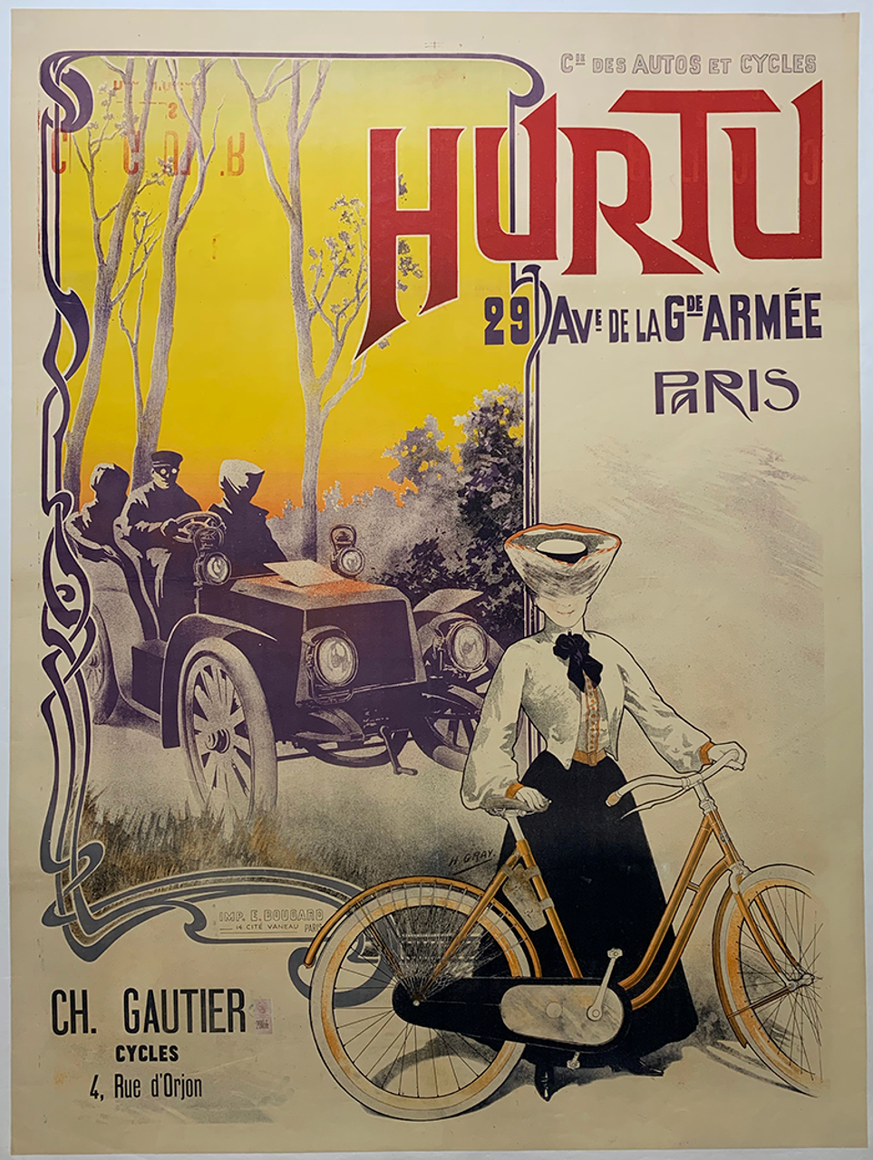 Hurtu Original Vintage Bicycle Poster by H Gray