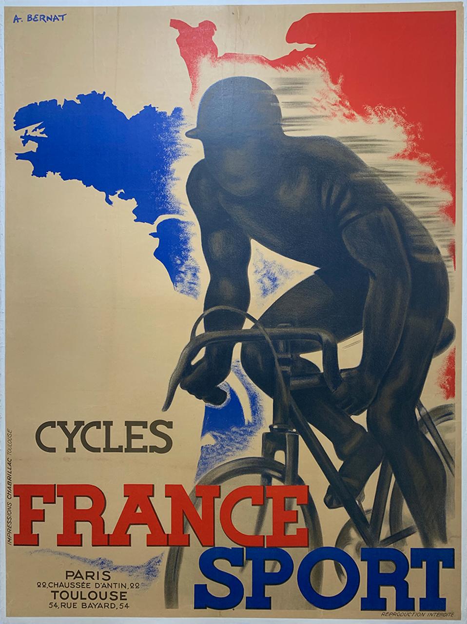 France Sport Original Vintage  Bicycle Poster by A. Bernat