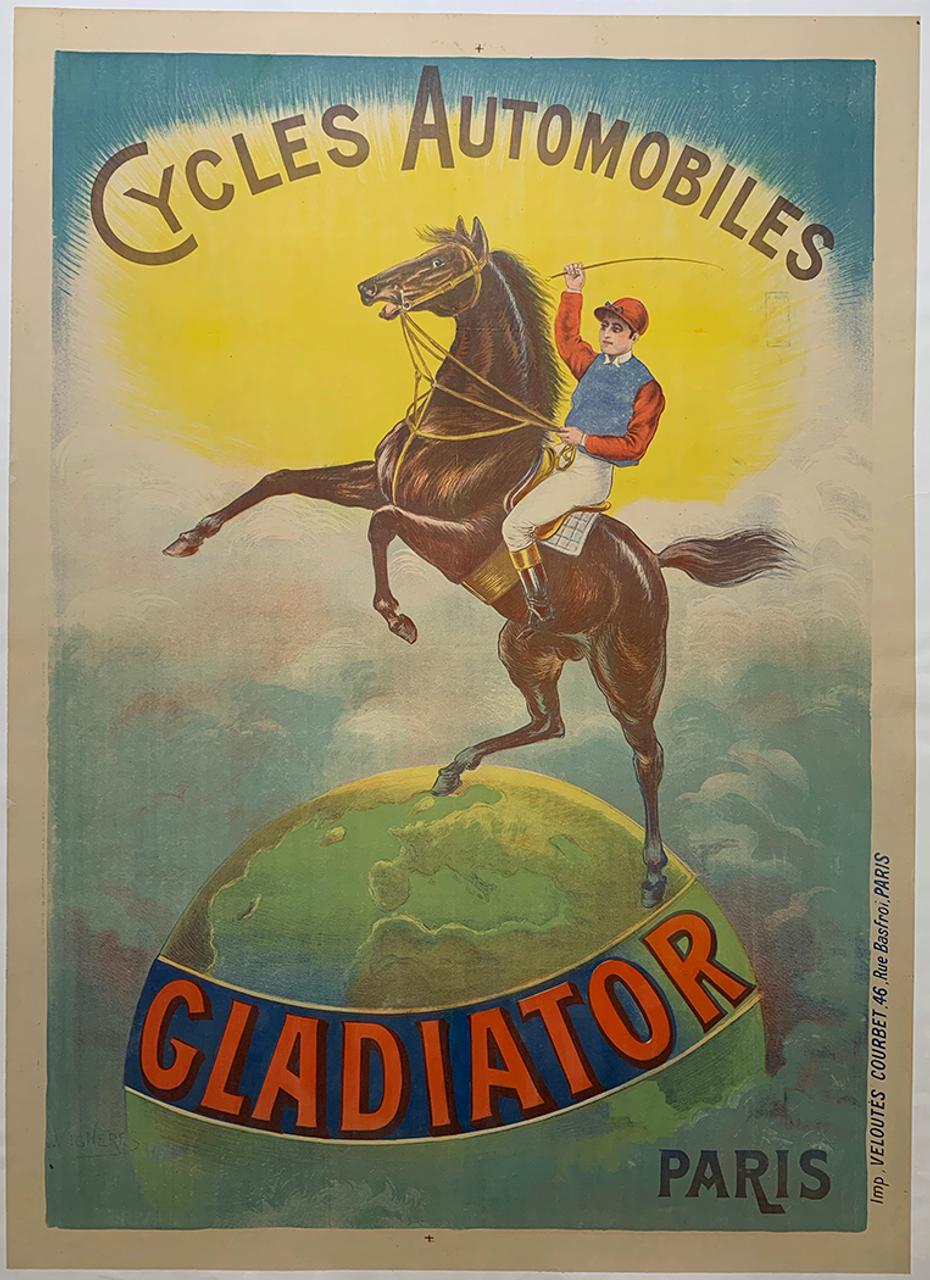 Gladiator Cycles Original Vintage  Bicycle Poster by Vingneres