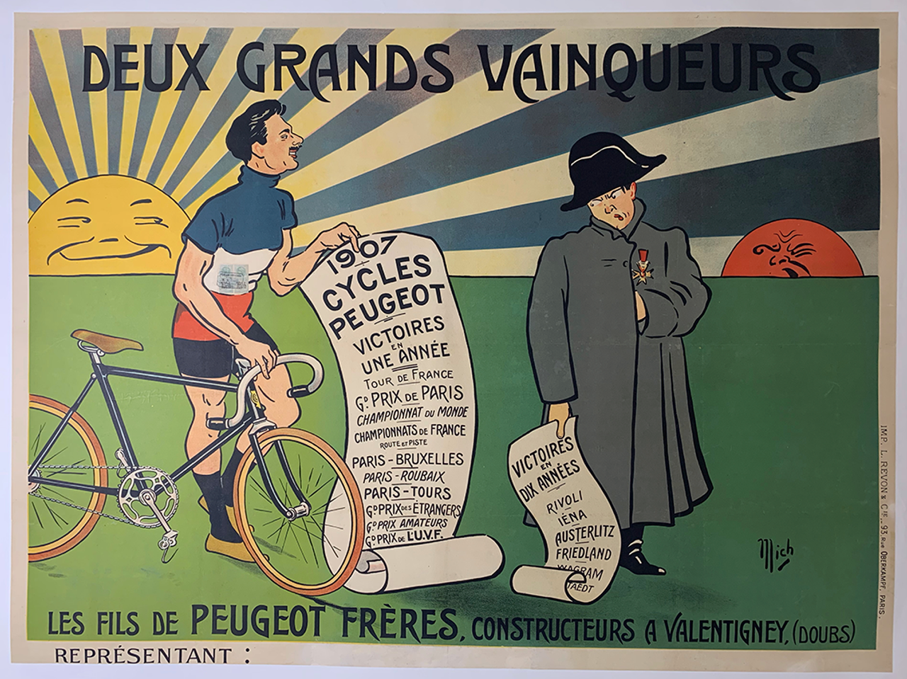 Peugeot Grand  Vainqueurs Original Vintage  Bicycle Poster by Mich