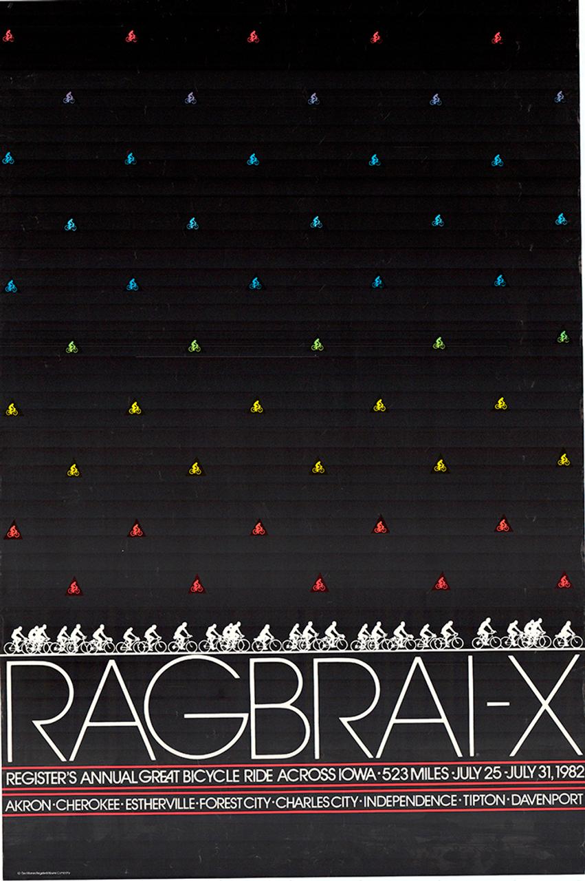 1982 RAGBRAI Original Vintage Bicycle Poster