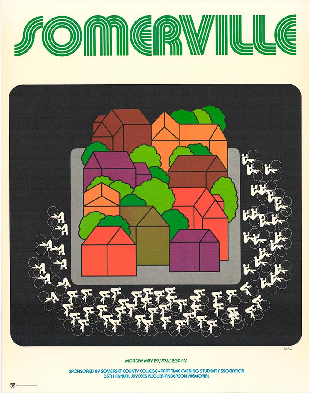 Somerville Race 1978 Original Vintage Bicycle Poster