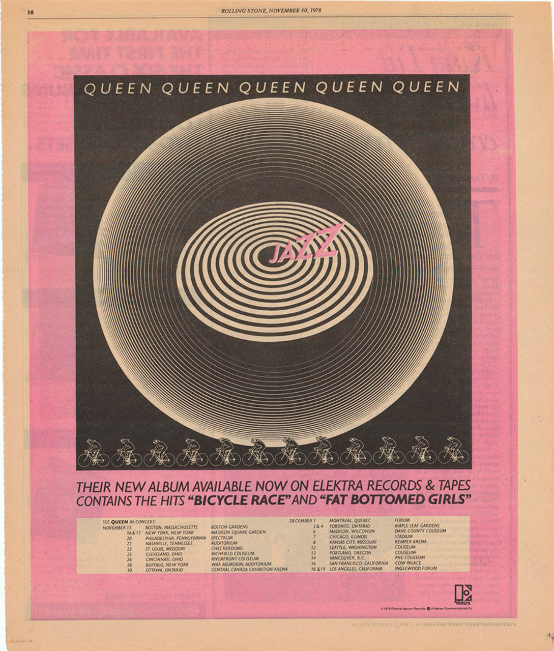 Vintage Queen Bicycle Race Fat Bottomed Girls Poster