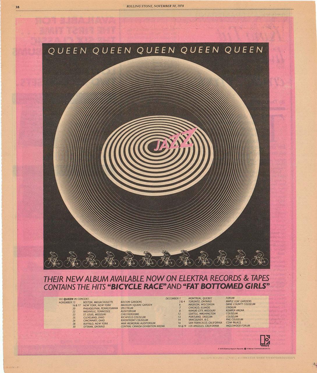 Queen Bicycle Race Jazz Original Vintage Bicycle Poster