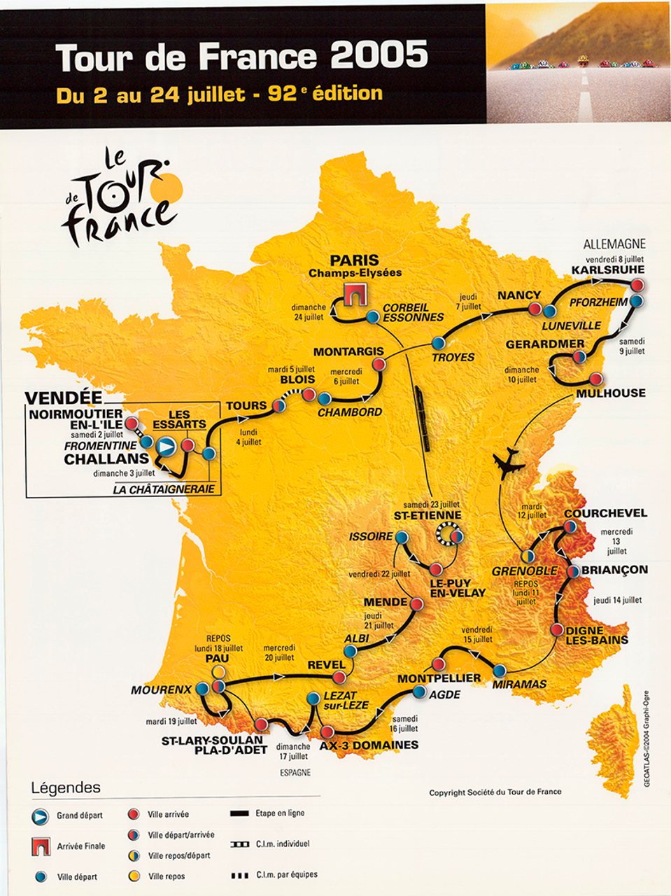 2005 Tour de France Original Vintage Map Bicycle Poster