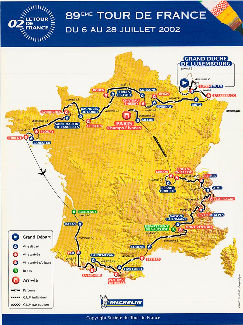 2002 Tour de France Original Vintage Map Bicycle Poster