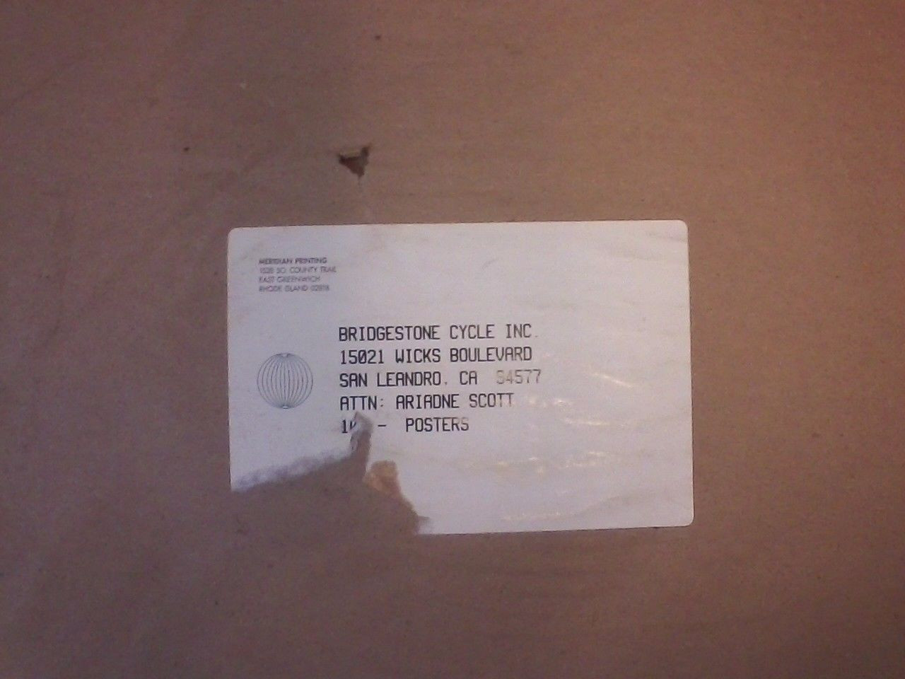 Bridgestone - Saddle Up Original Poster - Shipping Label  FOR REFERENCE ONLY