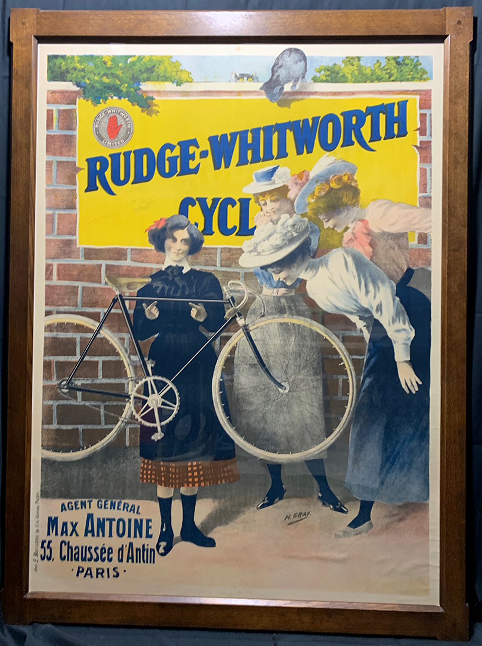 Rudge-Whitworth  Cycles Original Vintage  Bicycle Poster by H. Gray