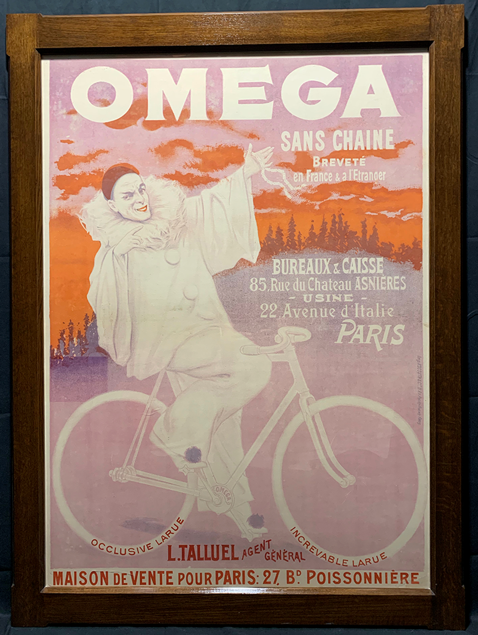 Omega Sans Chaine Original Vintage  Bicycle Poster