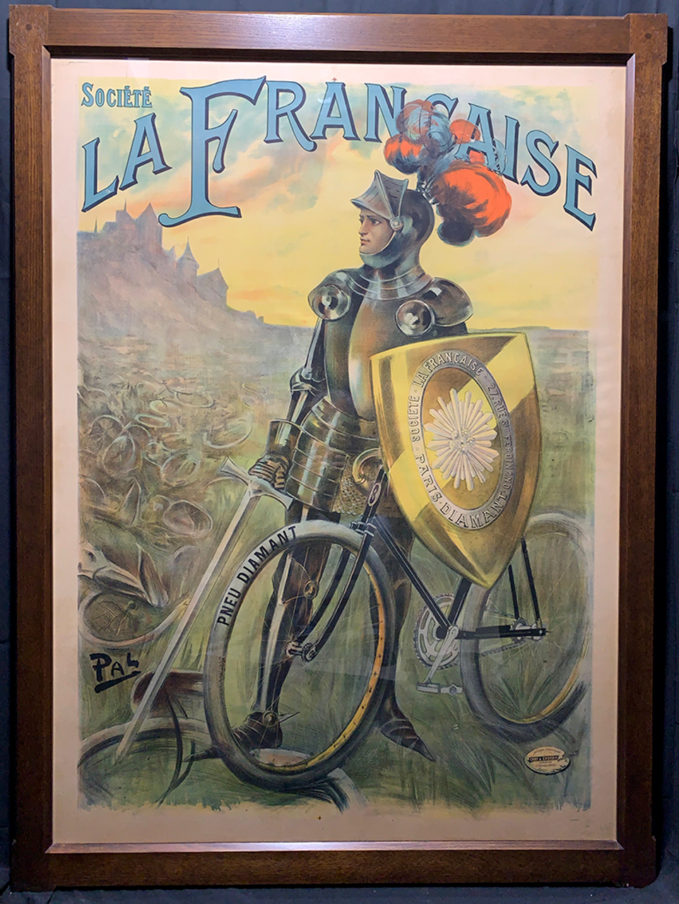 Societe La Francaise Knight Original Vintage  Bicycle Poster by PAL