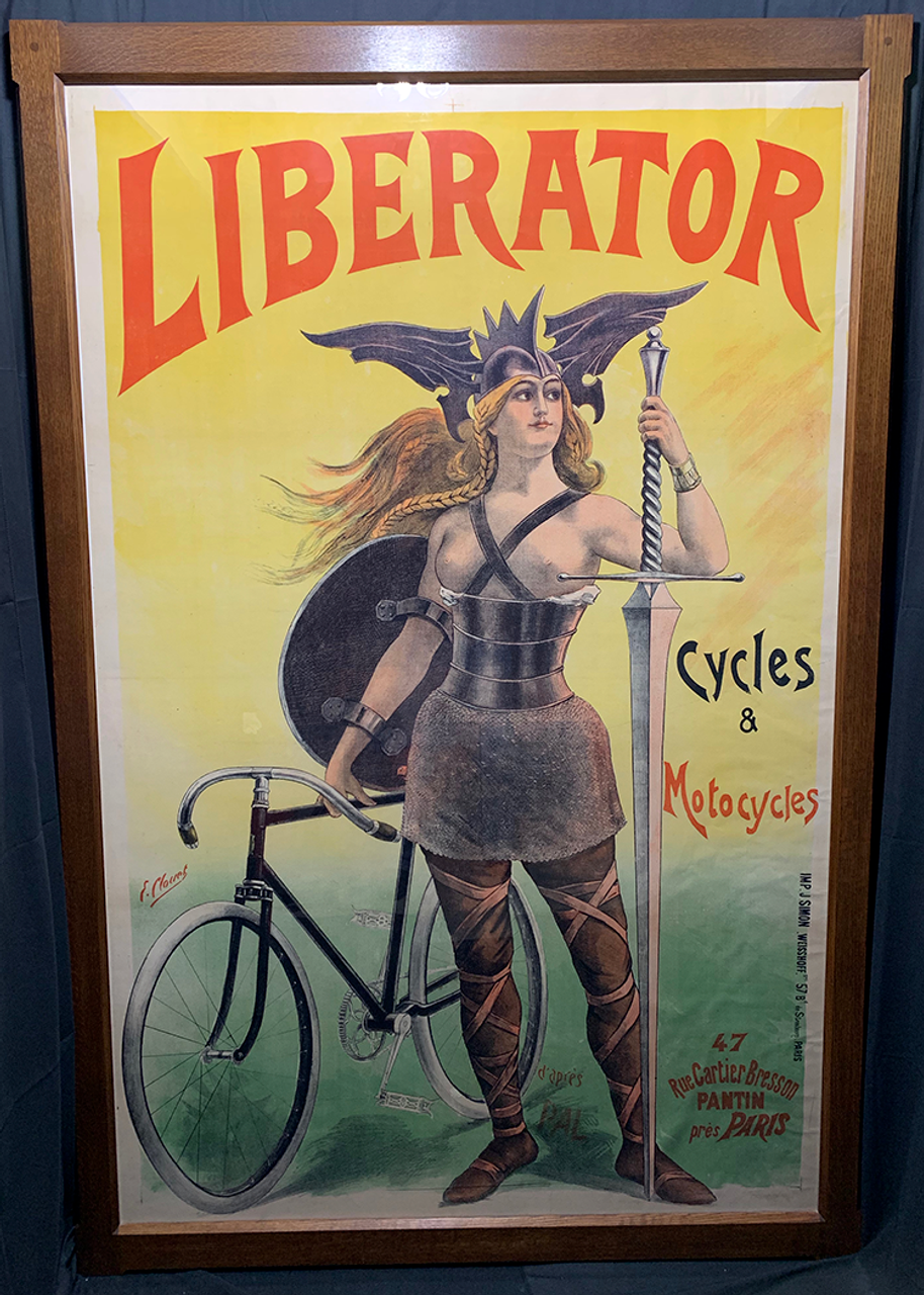 Liberator Cycles Original Vintage  Bicycle Poster by PAL