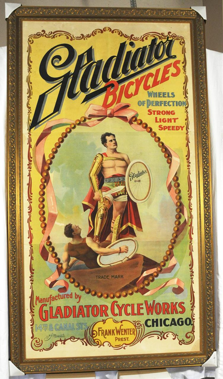Gladiator Bicycles Original Vintage Bicycle Poster