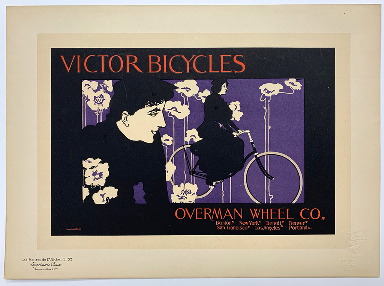 Victor Bicycles Plate #152 Original Vintage Bicycle Poster